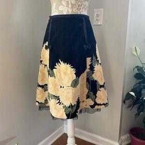 Vintage NYM Black Floral Corduroy A-Line Skirt